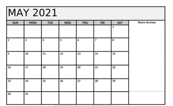 May 2021 Fillable Calendar