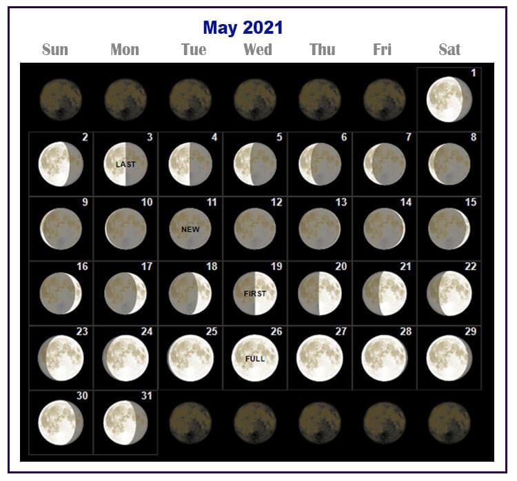 May 2021 Lunar Calendar with Dates