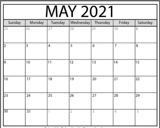 Monthly May 2021 Calendar Printable