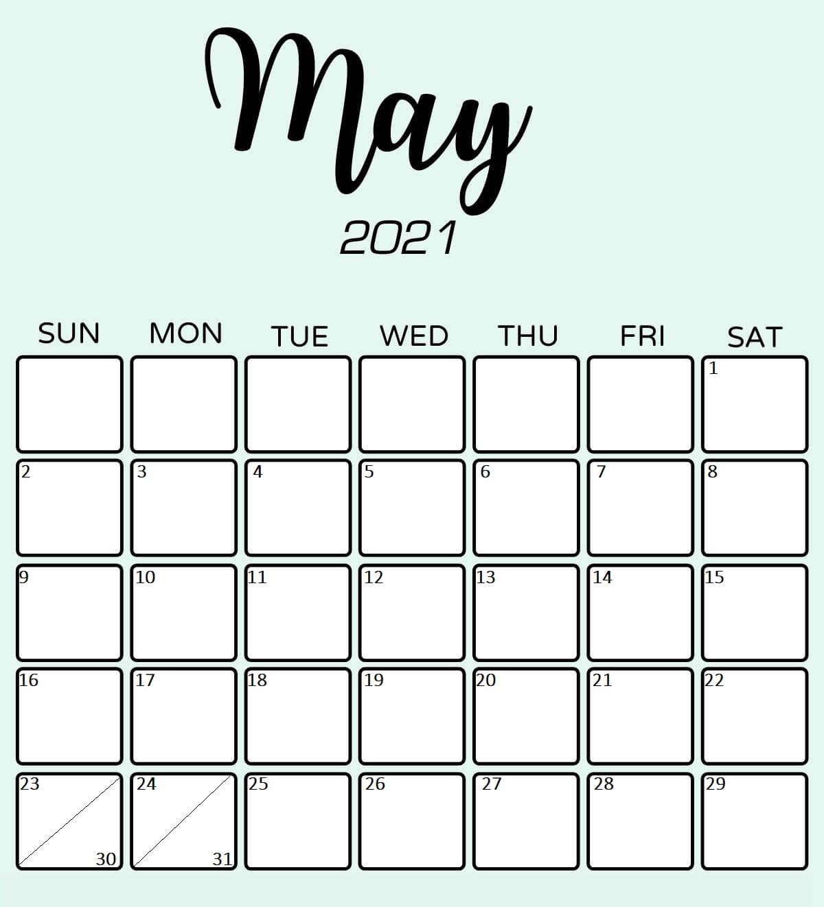 Printable Monthly Calendar May 2021