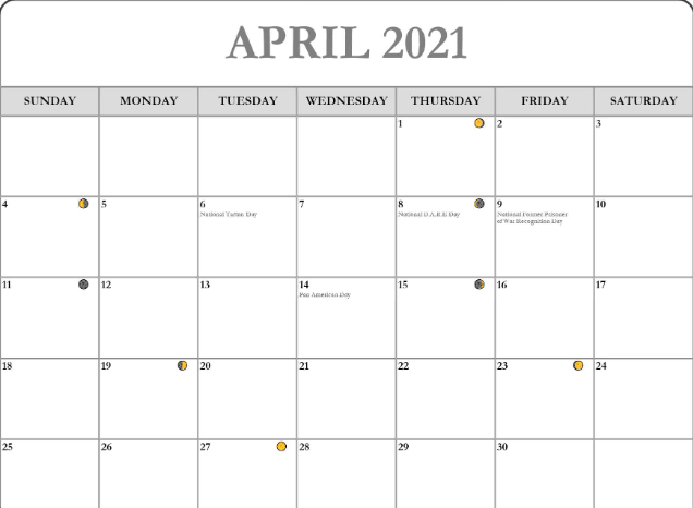 moon phases April 2021