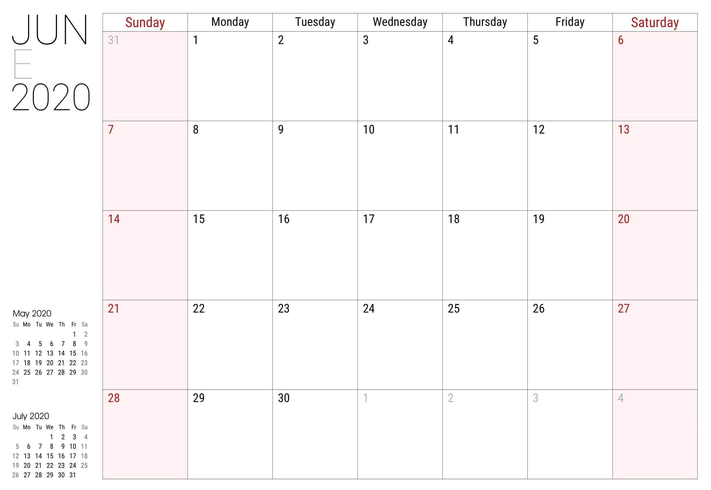 Calendar For June 2020 PDF