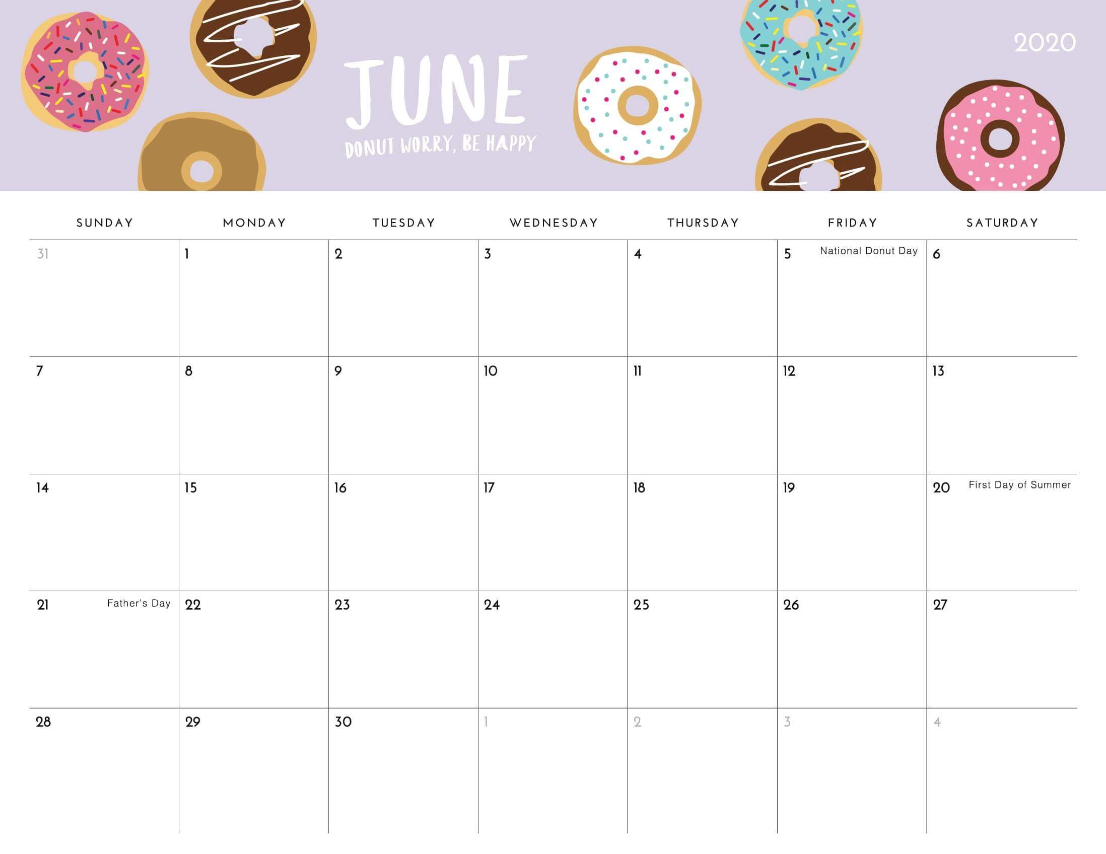 Cute 2020 June Calendar Printable