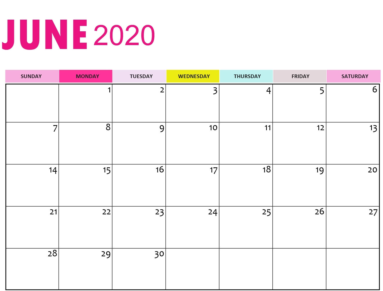 Cute June 2020 Calendar Colorful Designs Template