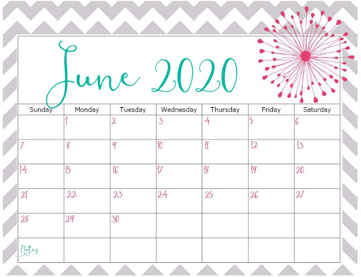 Cute June 2020 Calendar Template