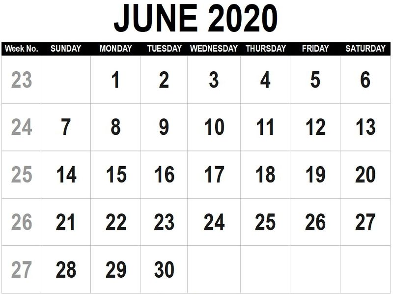 Download June 2020 Calendar PDF Template
