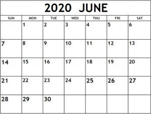 June 2020 Calendar PDF Download