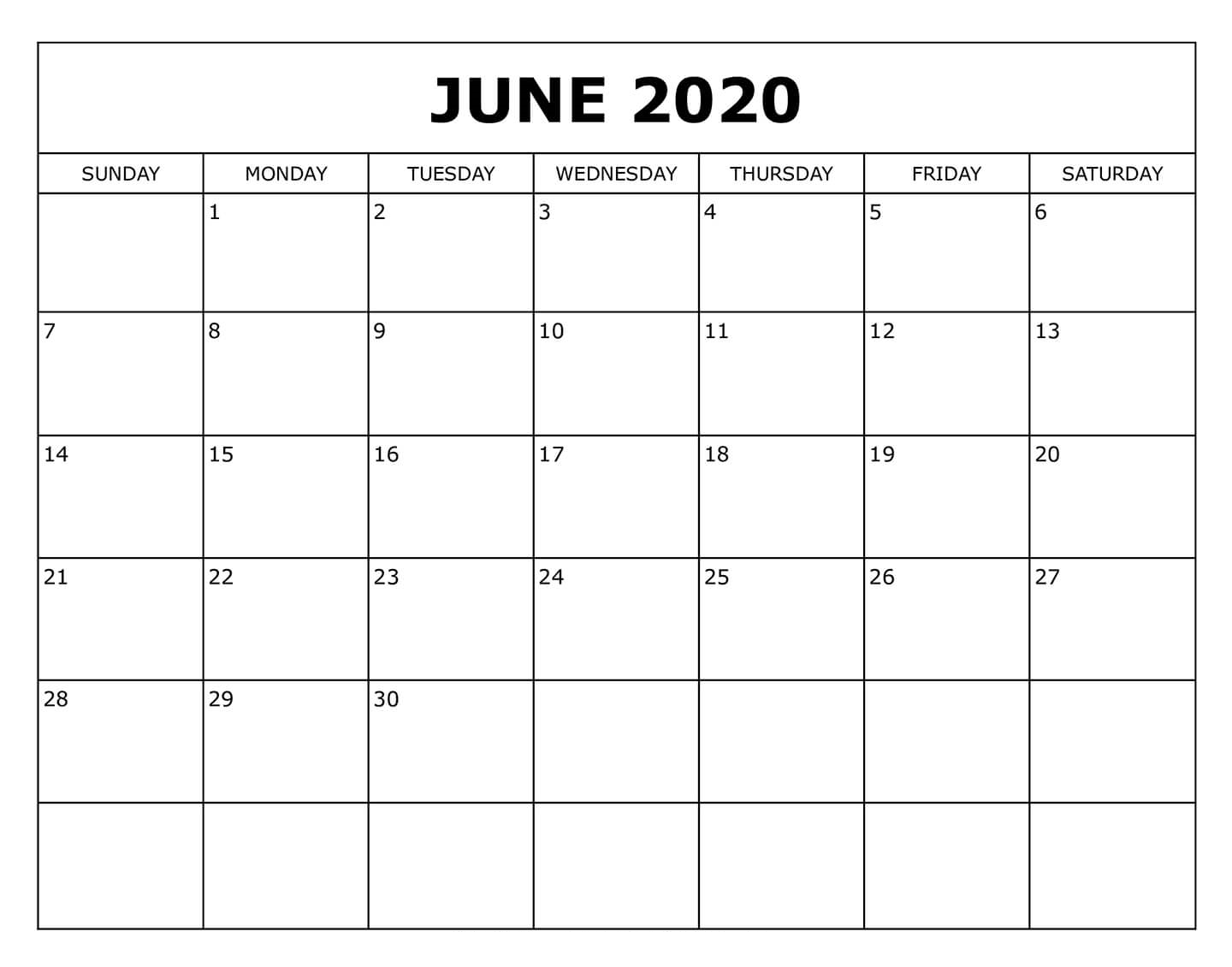 June 2020 Calendar PDF Download Online