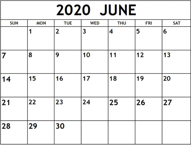 June 2020 Calendar PDF Download
