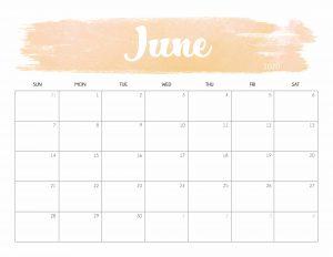 June 2020 Calendar for Desktop