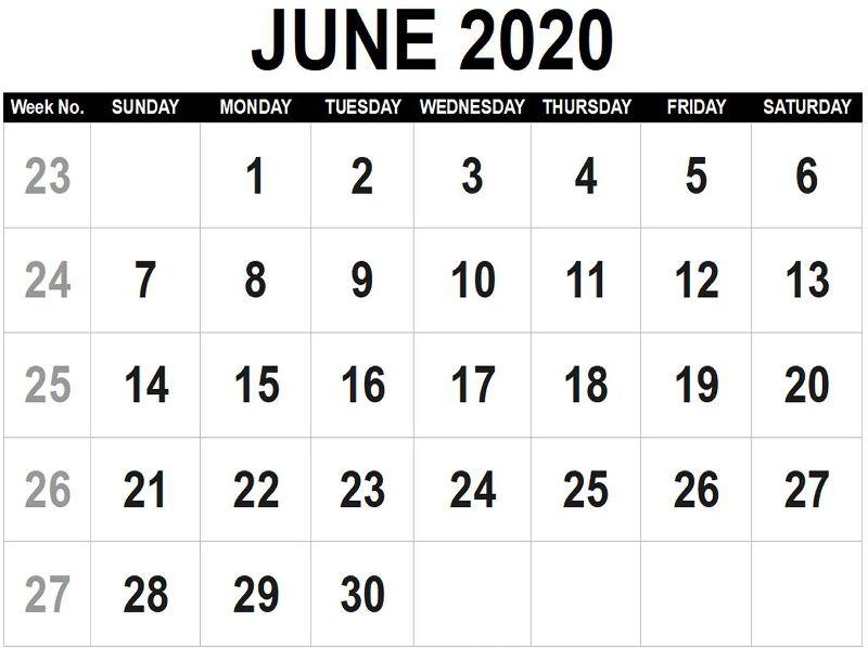 June 2020 Free Printable Calendar PDF