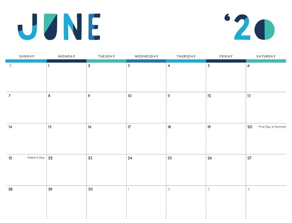 June 2020 PDF Calendar Template