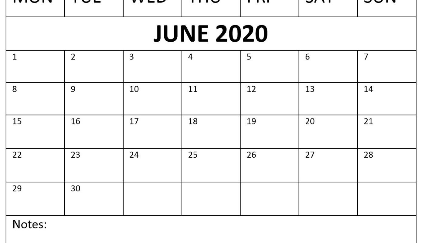 June 2020 PDF Calendar