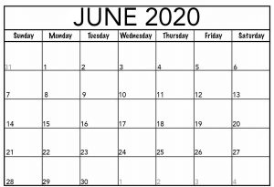 PDf Calendar 2020 June