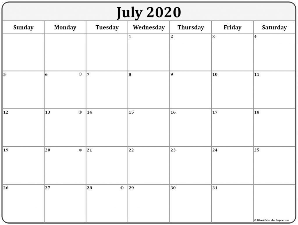 July 2020 Moon Calendar