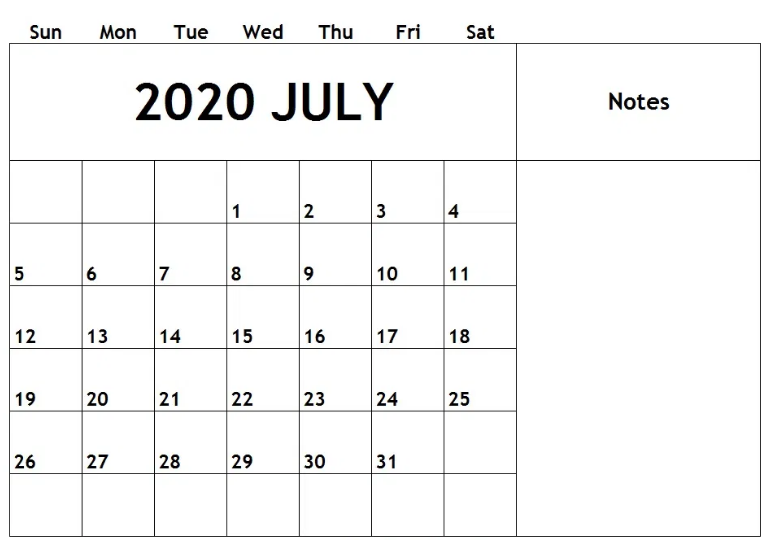 Fillable July 2020 Calendar Blank