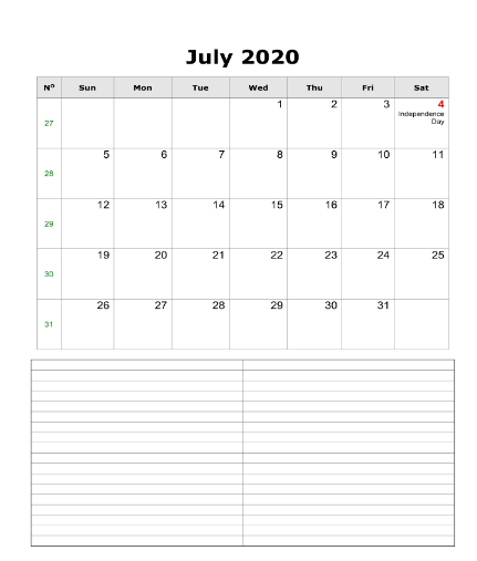 July 2020 Fillable Calendar