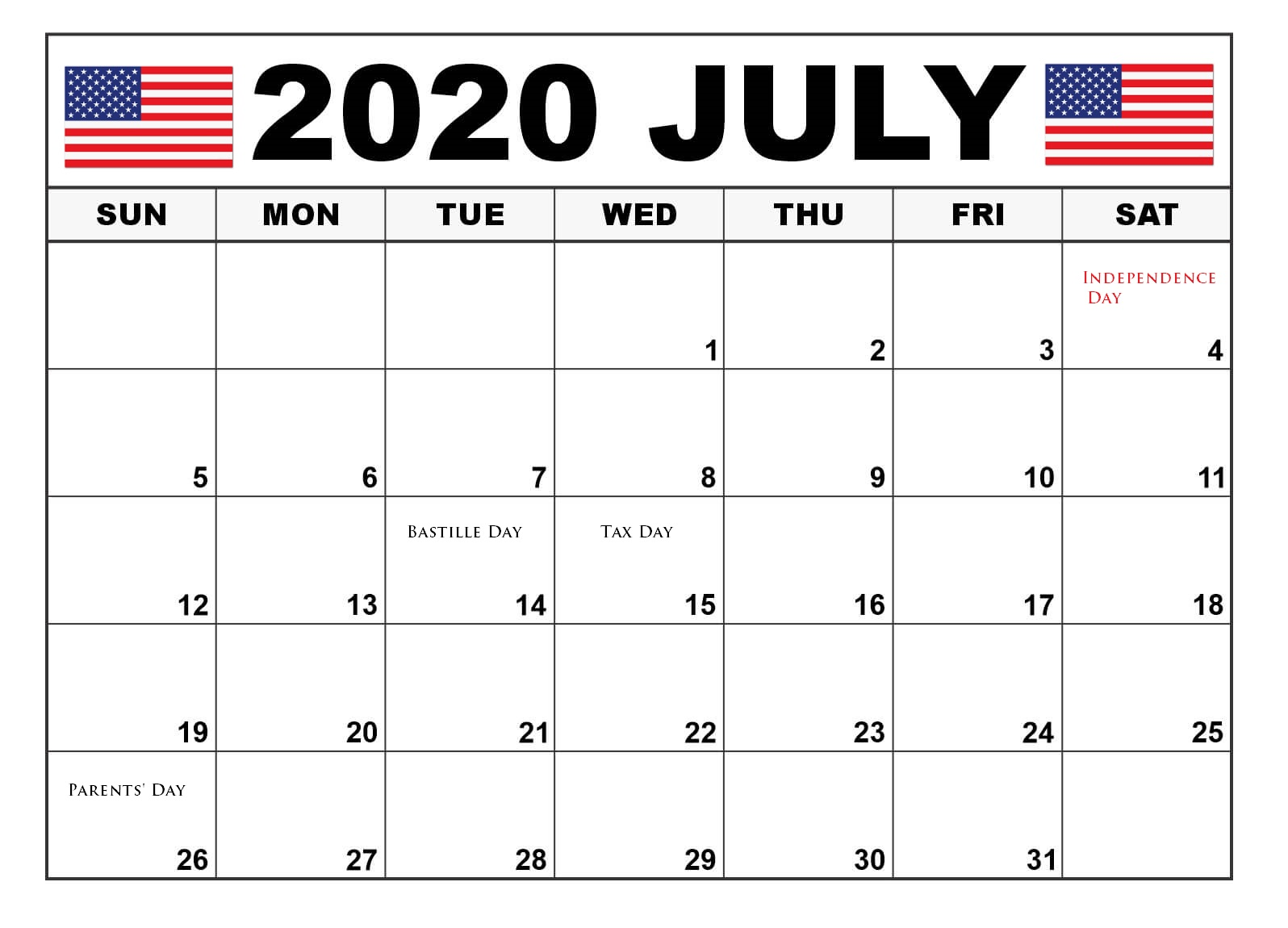 July 2020 US Holidays