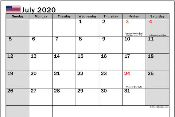 July 2020 USA Calendar