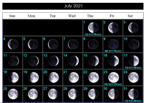 July 2021 Full Moon Calendar
