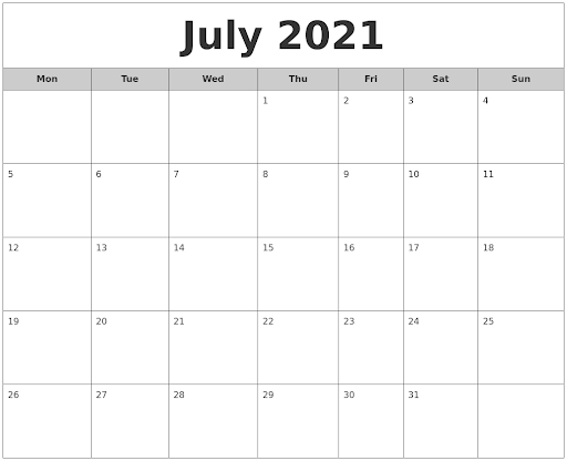July 2021 Monthly Calendar