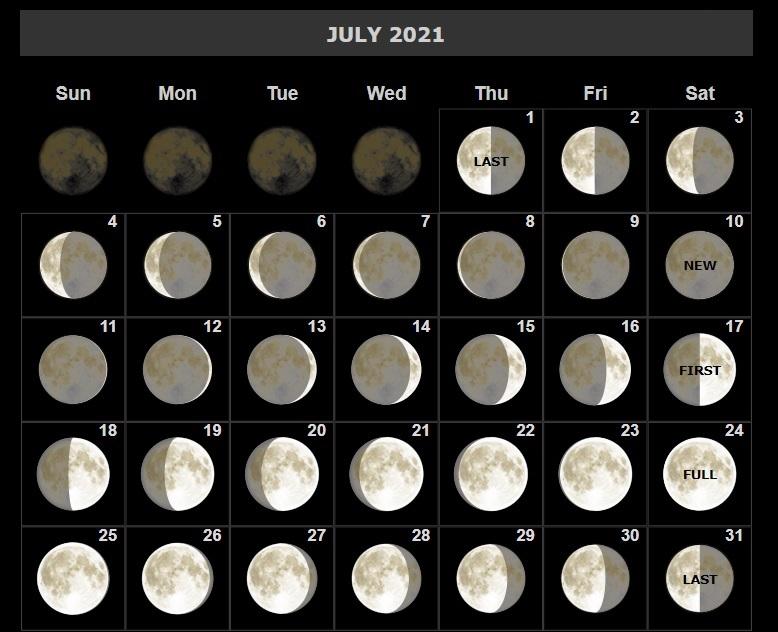 July 2021 Moon Calendar Lunar Phases Printable