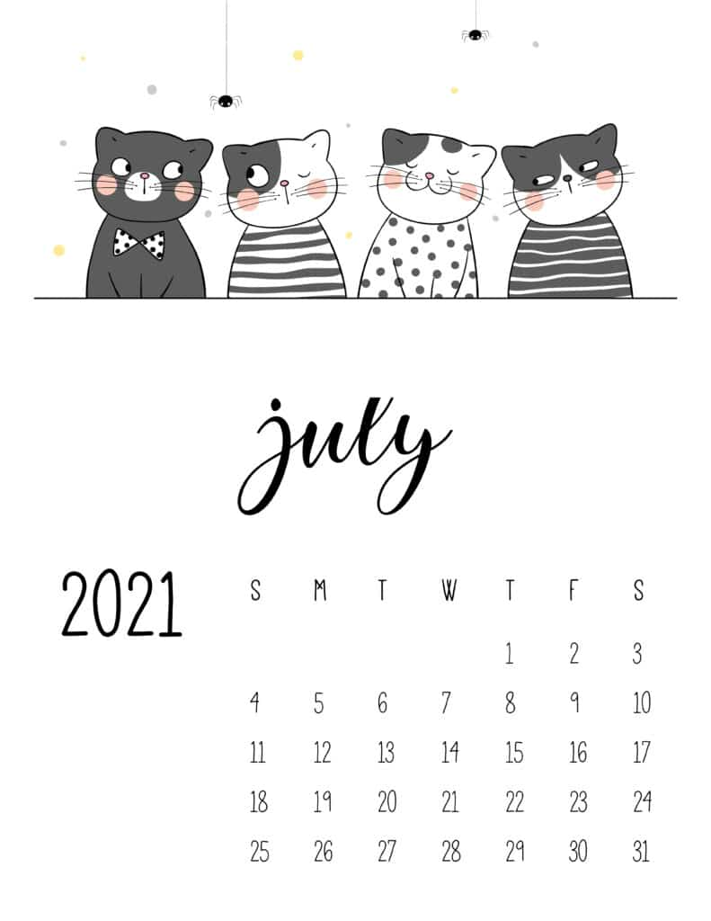 July 2021 calendar word portrait