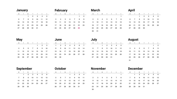 12 Month Calendar in a year