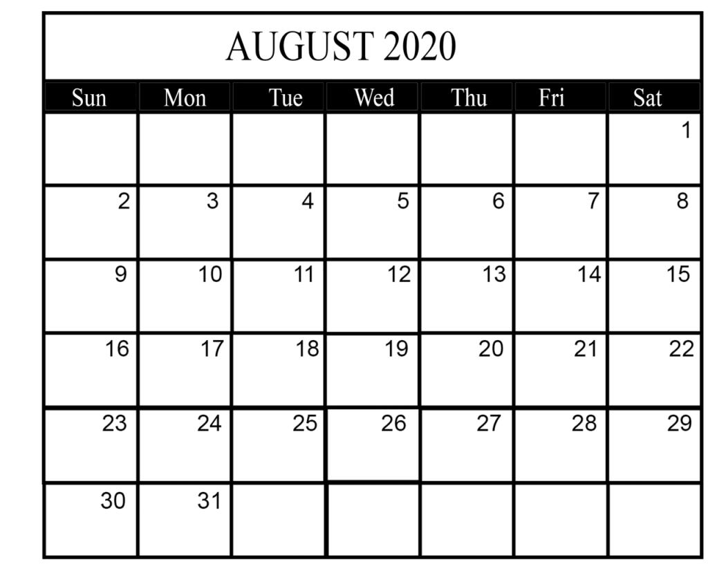 August 2020 Calendar PDF