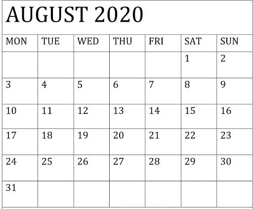 August 2020 Calendar Template Word