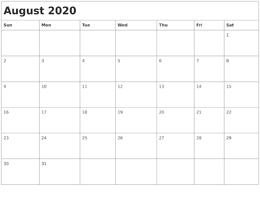 August 2020 Month Calendar
