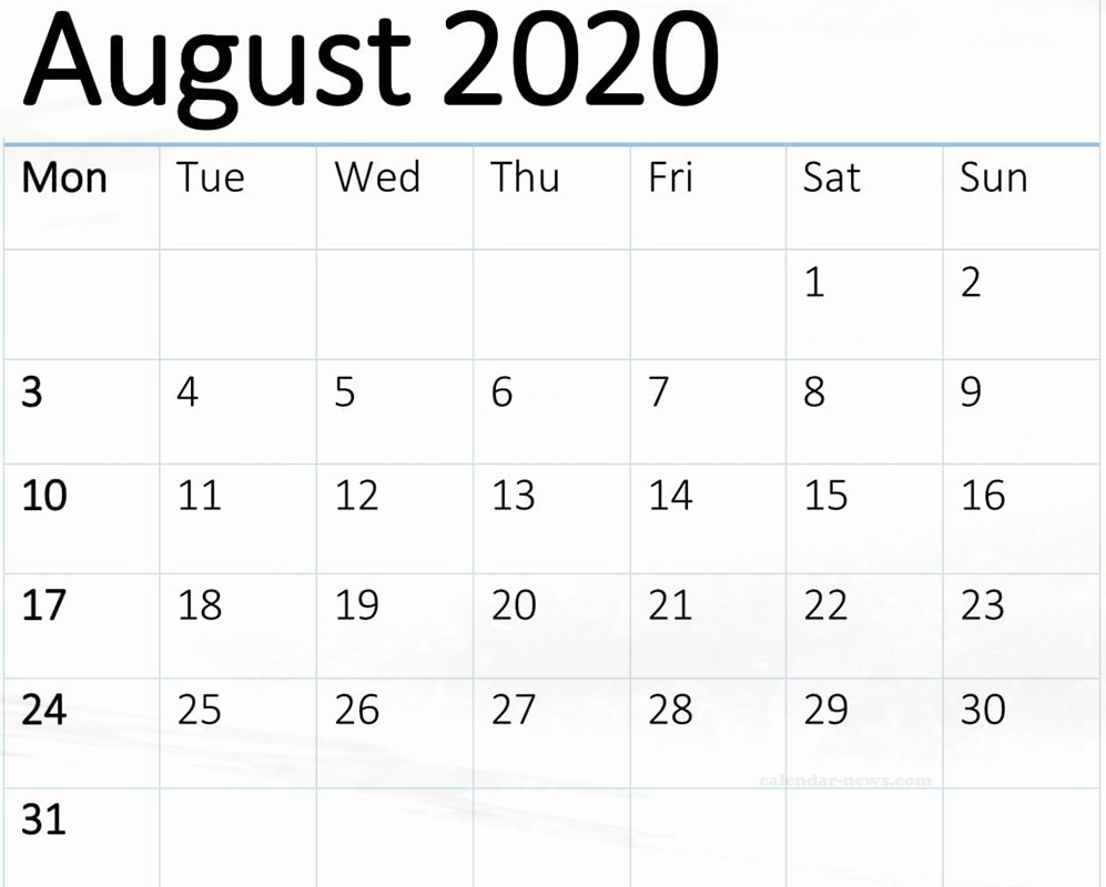 August 2020 Printable Calendar PDF Excel Design