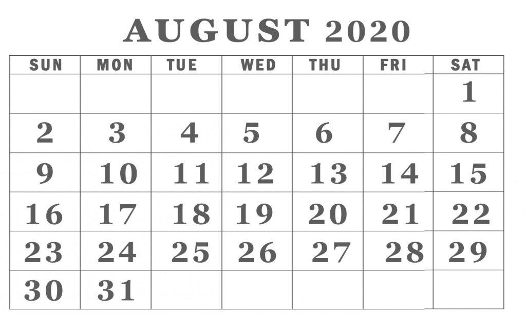 August 2020 calendar free-printable