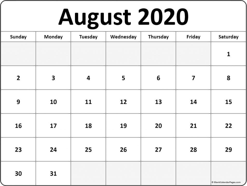 Blank Calendar 2020 August Printable