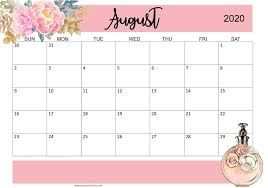 Calendar August 2020 With Holiday Planner