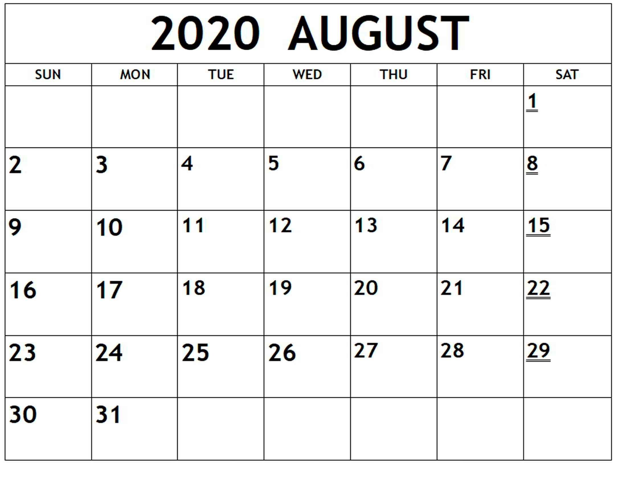 Free Calendar August 2020