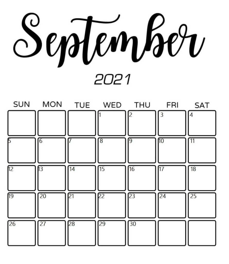 Free printable september 2021 monthly calendar