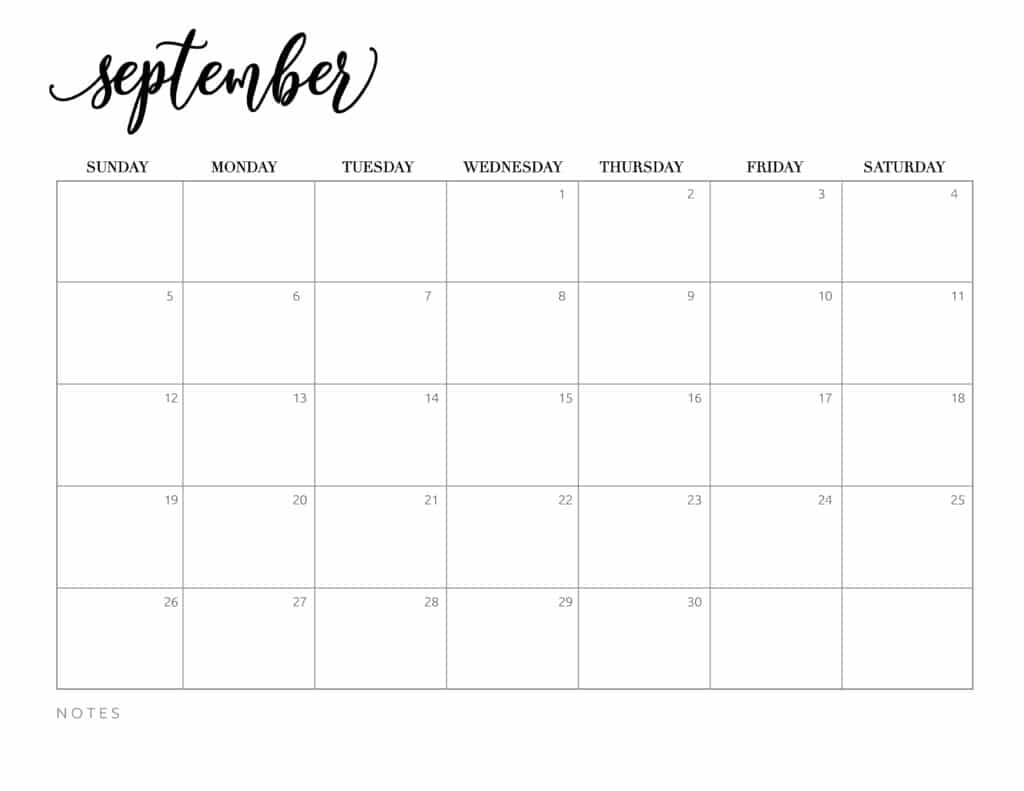Free september 2021 calendar download