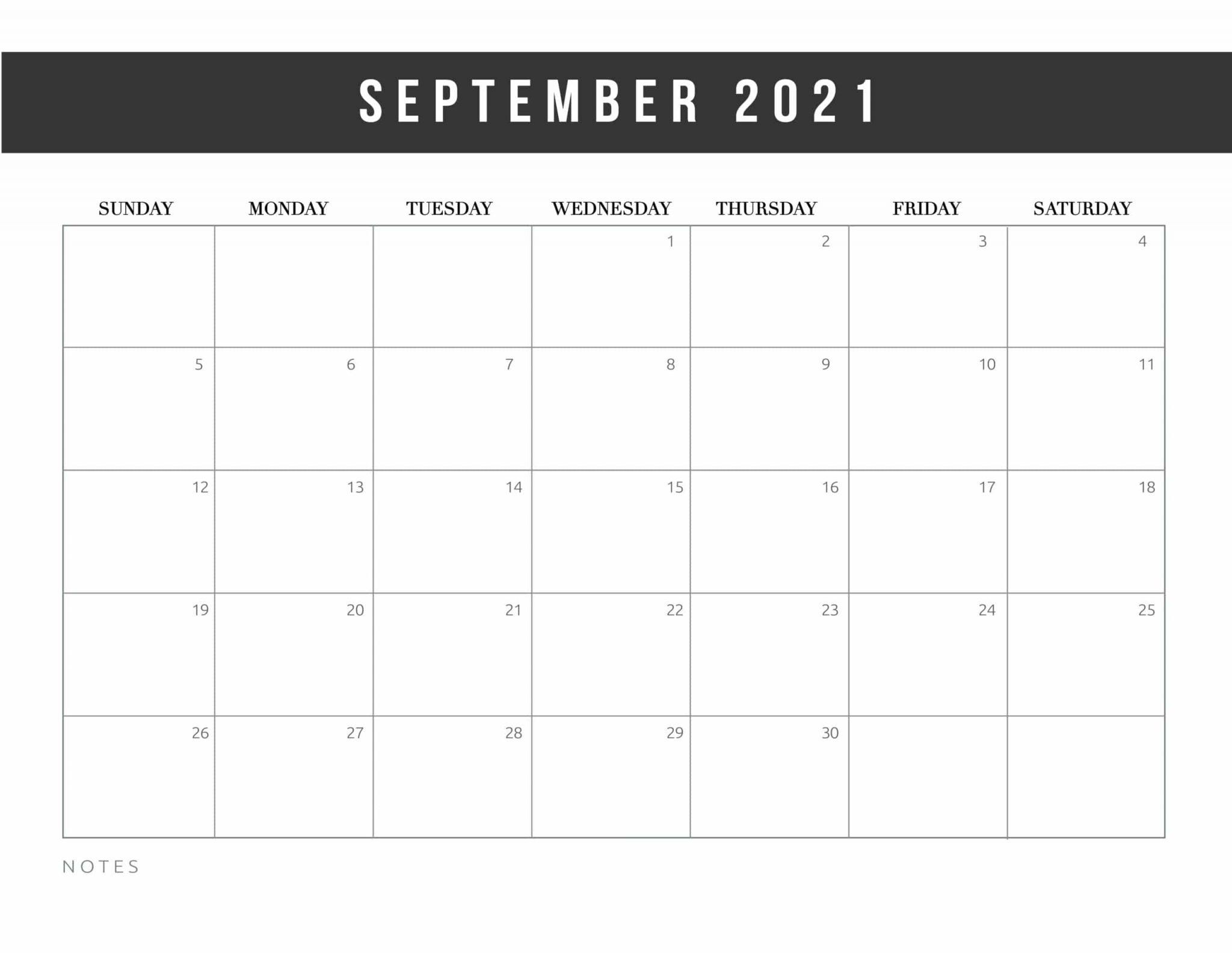 Free september calendar 2021 template