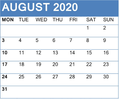 Lego August 2020 Calendar