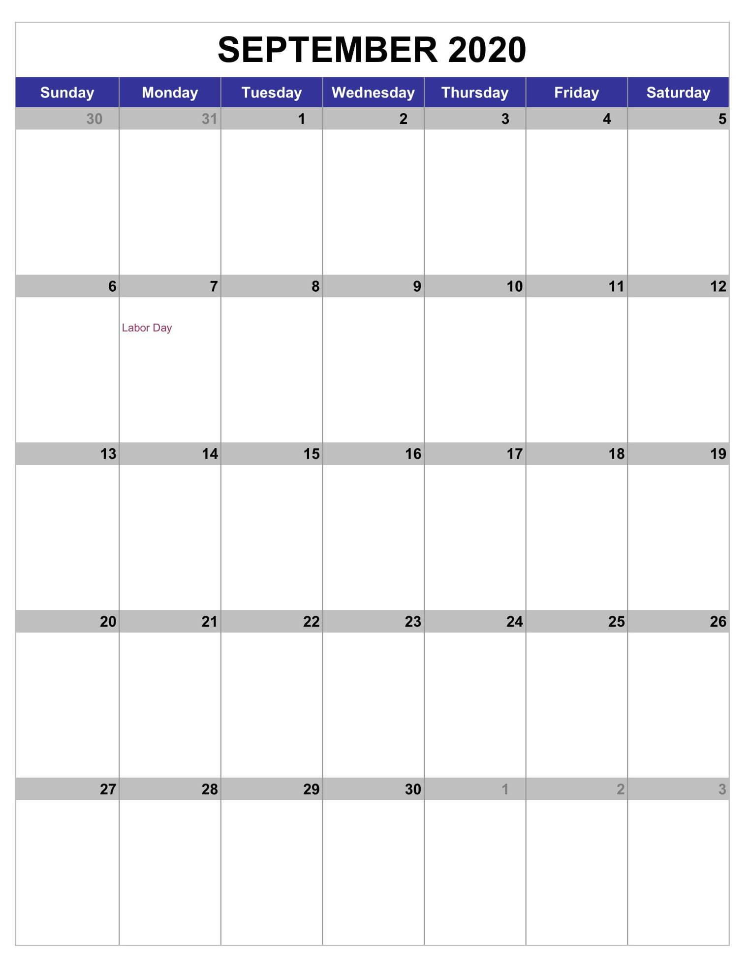 September 2020 Calendar Download