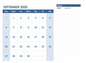 September 2020 Fillable Calendar Template