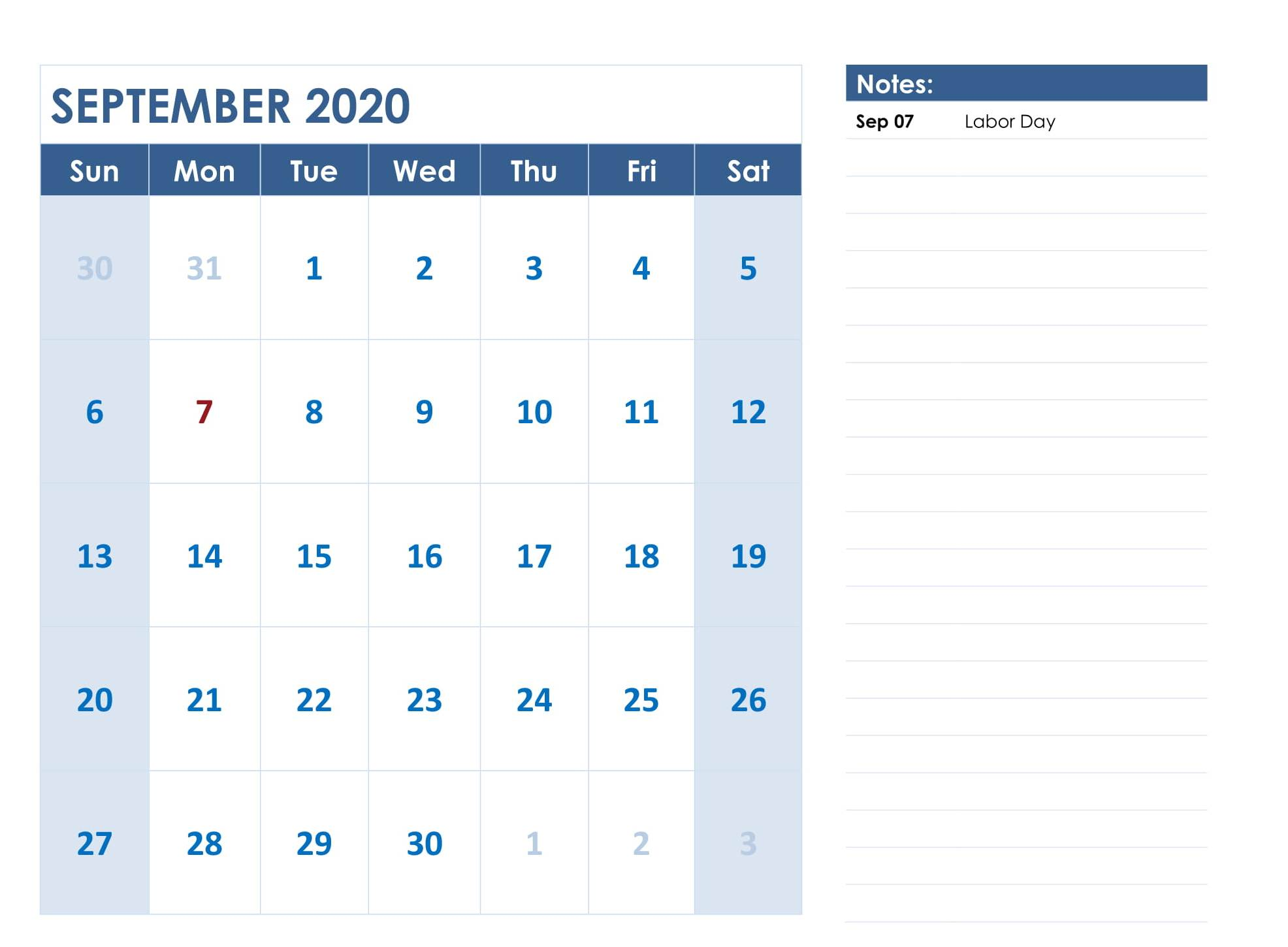 September 2020 Fillable Calendar Template