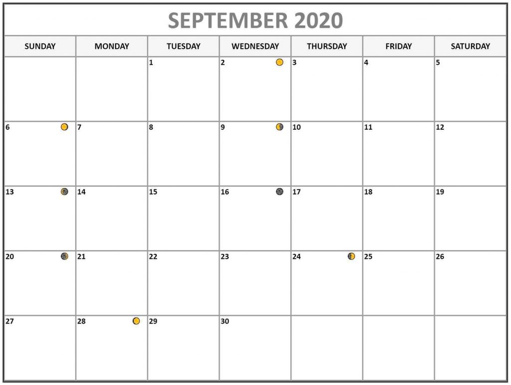 September 2020 Lunar Calendar