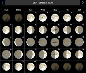 September 2020 Moon Phase Calendar