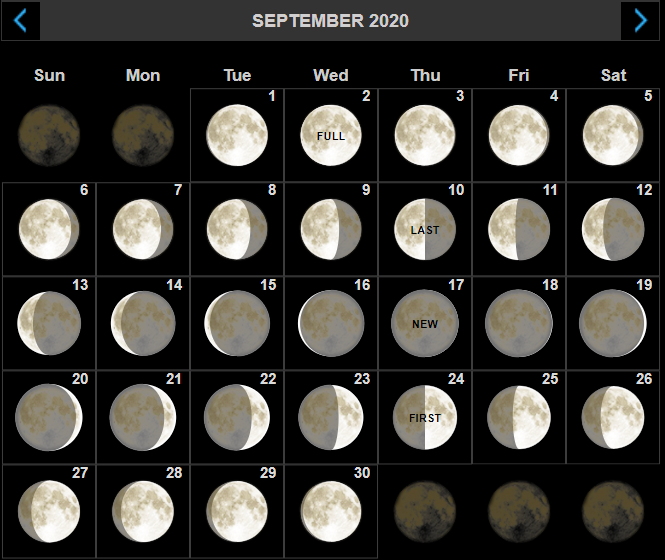 September 2020 Moon Phase Calendar
