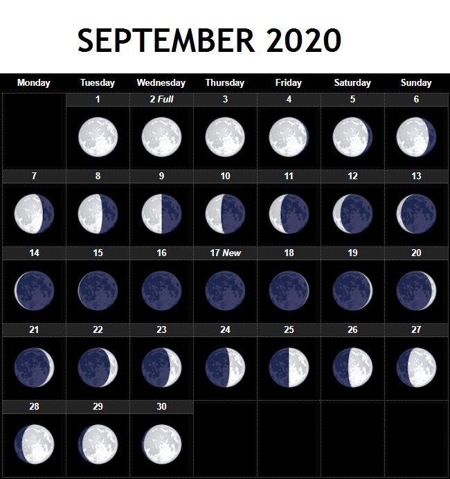 Lunar Calendar September 2020