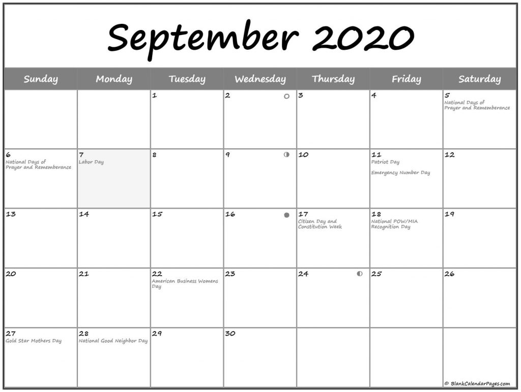 September 2020 Lunar Calendar Phases