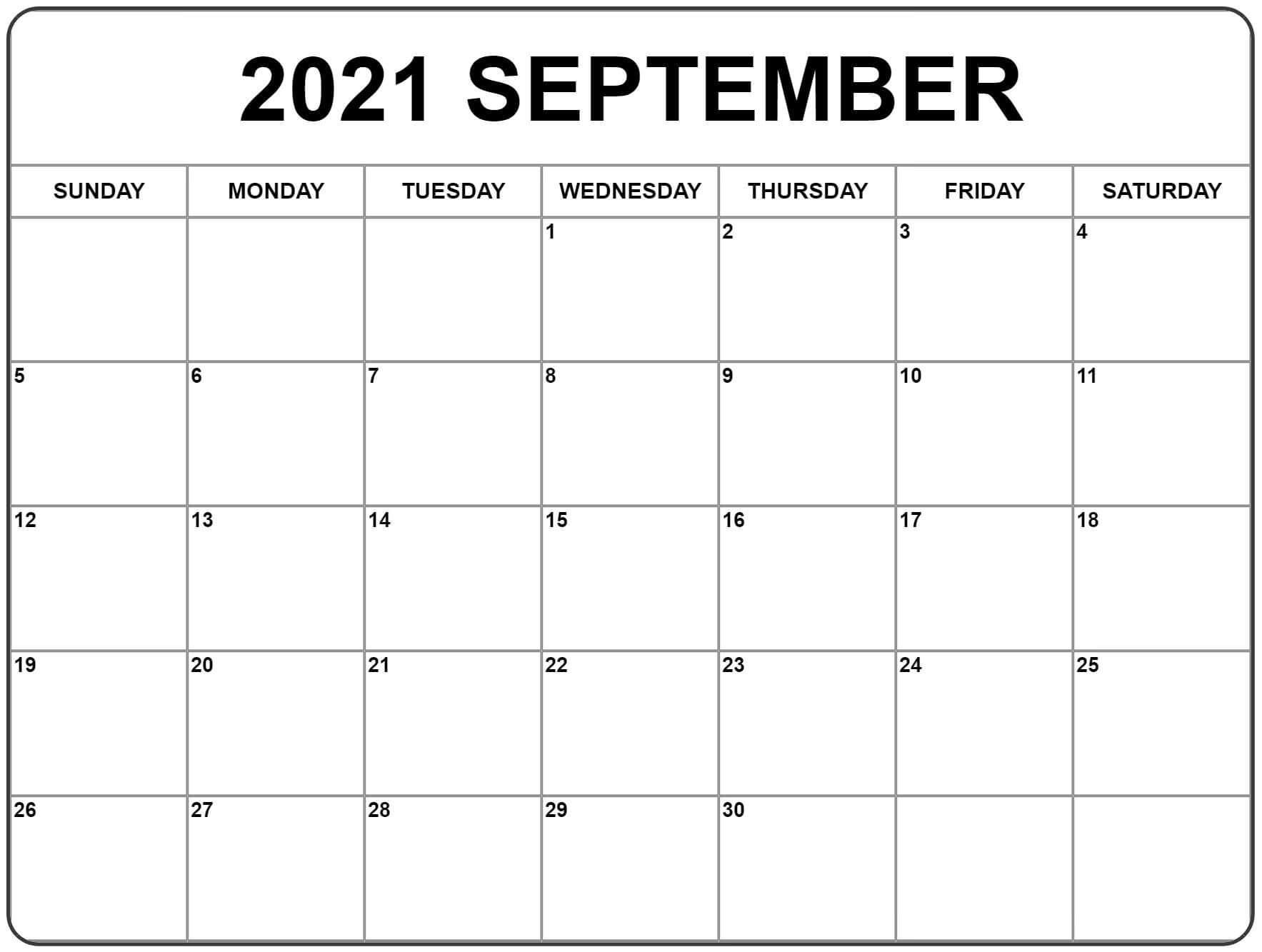 september 2021 calendar template to print - Printable Calendar Pdf