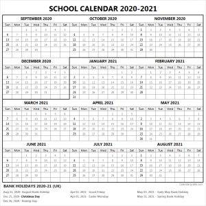 2020-21 School Calendar Bank Holidays